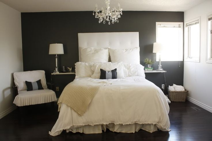 Dark grey accent wall dark floors white ceiling and for Bedroom design inspiration