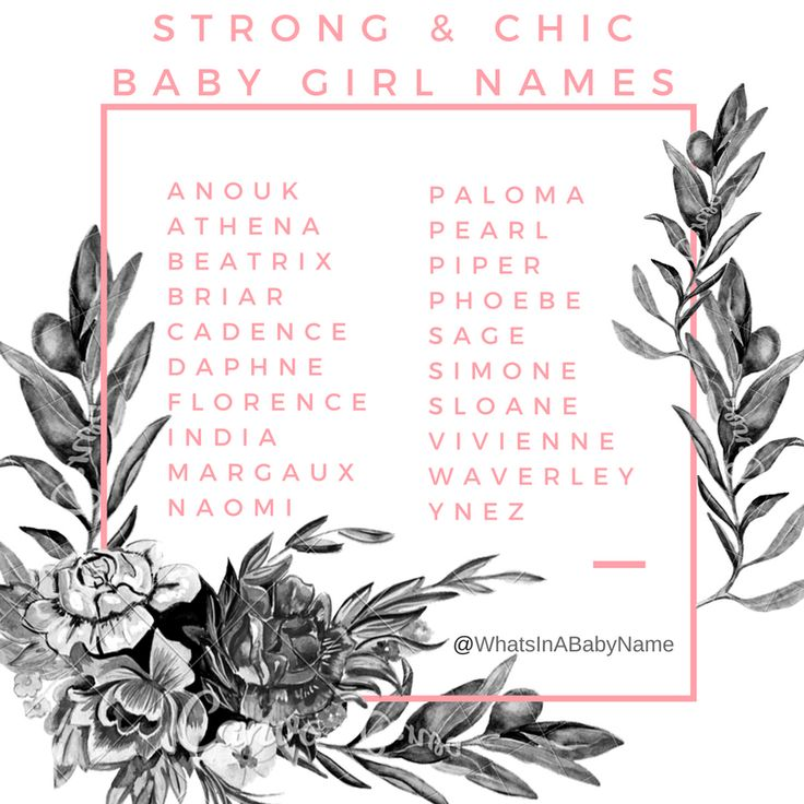 Strong and Chic Baby Girl Names || For more names, meanings, numerology reports, and personality traits. Some of these are good middle names