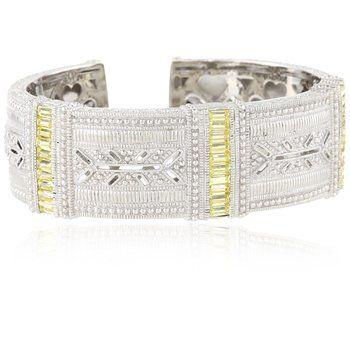 "udith Ripka ""Estate"" Cubic-Zirconia and Sapphire Wide Estate Cuff Bracelet"