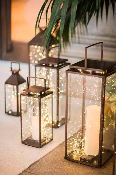 farolillos con tiras de luces led pequeñas  #boda #wedding #light #illumination #decoration #decoracion #diy #original #ideas #lights #luces  #lanters #centerpiece #garlands