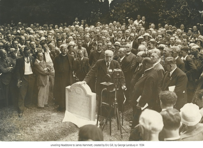 Unveiling the new memorial to James Hammett, one of the Martyrs, in 1934.