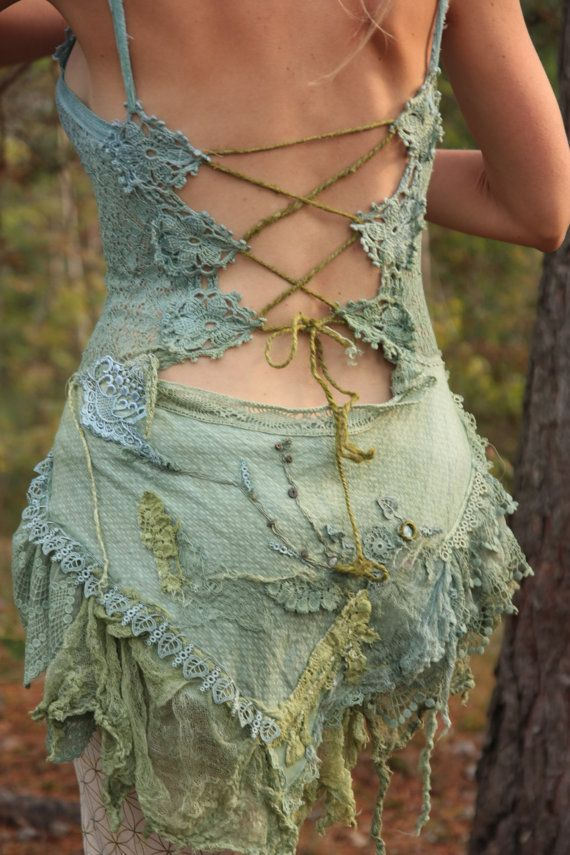 Gypsy tattered Heather fairy silk top by FractalWings on Etsy