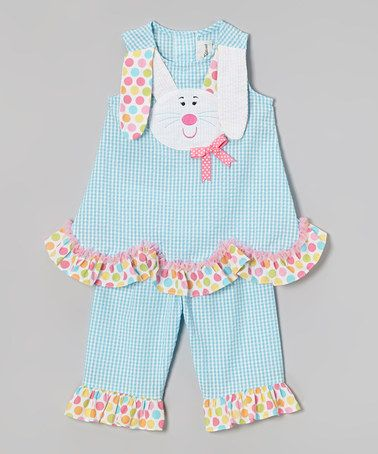 Turquoise Bunny Seersucker Tank & Pants - Infant, Toddler & Girls #zulily #zulilyfinds