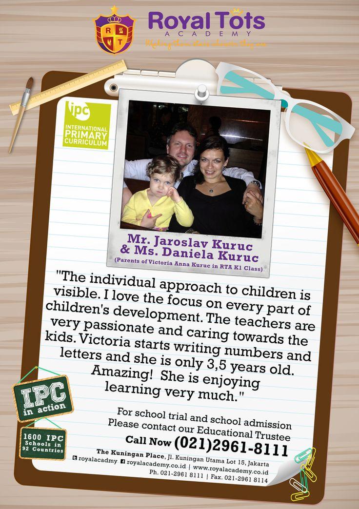 Mr. Jaroslav Kuruc & Ms. Daniela Kuruc (Parents of Victoria Anna Kuruc in RTA Kindergarten 1 Class)  #Parent #IPC #School #Testimony