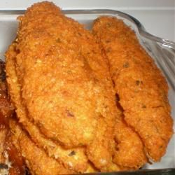 Buffalo Chicken Fingers-this is a super crunchy, super tasty baked chicken recipe.