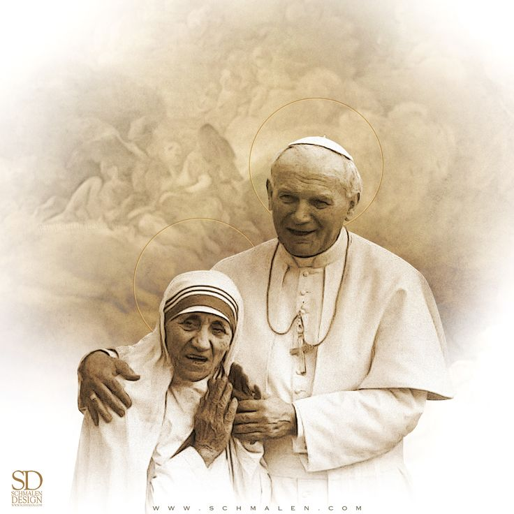 www.Schmalen.com  These two inspired millions while they walked among us. Now we can pray to them both! In anticipation of Mother Teresa's Canonization this coming Sunday... St. Teresa of Calcutta and Pope St. John Paul, pray for us!