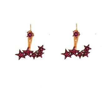 Χειροποίητα ear jackets σκουλαρίκια από ροζ επιχρυσωμένο ασήμι 925ο με φούξια ζιργκόν. Τα σκουλαρίκια αποτελούνται από ένα αστέρι καρφωτό στο αυτί κι ένα άλλο κομμάτι με 4 αστέρια που κουμπώνει πίσω από το αυτί - Silver ear jackets stars earrings made of rose gold plated silver 925o and fouchsia cubic zirconia.
