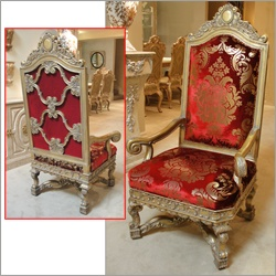 Beautiful Pair Of Hand Carved Throne Chairs By Phyllis Morris.