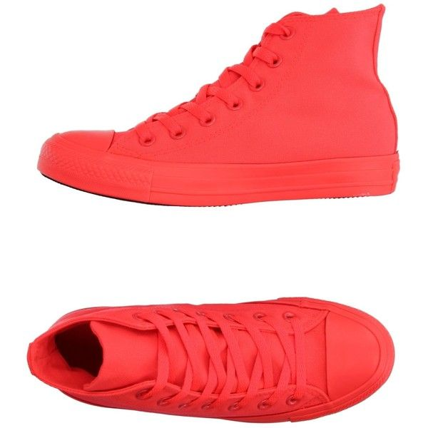 Converse All Star High-tops & Sneakers (£47) ❤ liked on Polyvore featuring shoes, sneakers, red, rubber sole shoes, red trainers, red high top sneakers, red shoes and hi tops