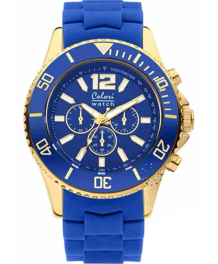 COLORI Cool Chrono Gold Blue Silicone Strap Τιμή: 69€ http://www.oroloi.gr/product_info.php?products_id=35126