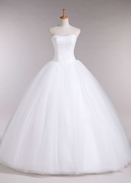 2014  Simple and Elegant White Strapless Ball Gown by Honxuredress, $219.99