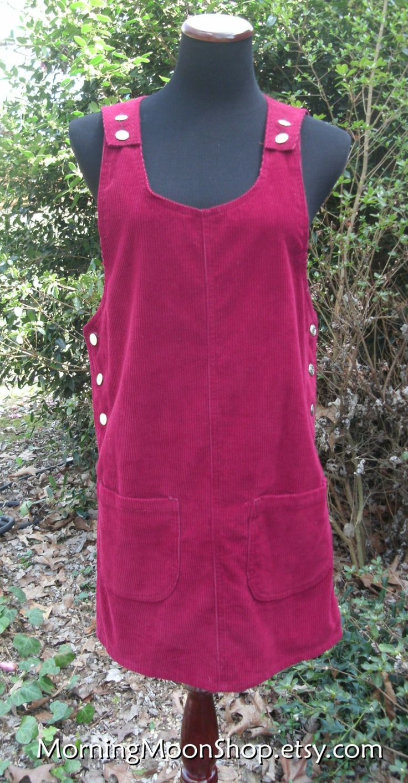 Burgundy CORDUROY JUMPER DRESS, Vintage Grunge, Sleeveless Knee-Length Short Wine Red Sheath, Retro 1990s Hipster Boho, silver buttons, S/P by MorningMoonShop on Etsy