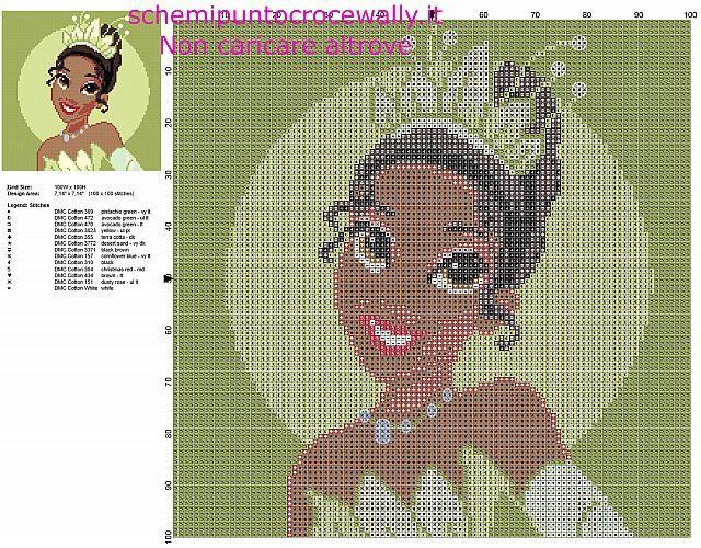La Principessa Disney Tiana dal film La Principessa e il Ranocchio schema punto croce gratis