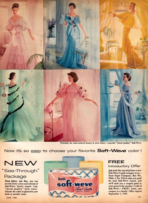 1950's colored toilet paper...do you remember colored TP?#Repin By:Pinterest++ for iPad#