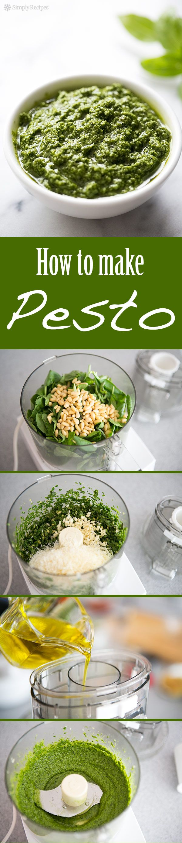 Make your own homemade pesto. It's easy! Great for adding to pasta, chicken, even toast. With fresh basil leaves, pine nuts, garlic, Romano or Parmesan cheese, and olive oil. On SimplyRecipes.com