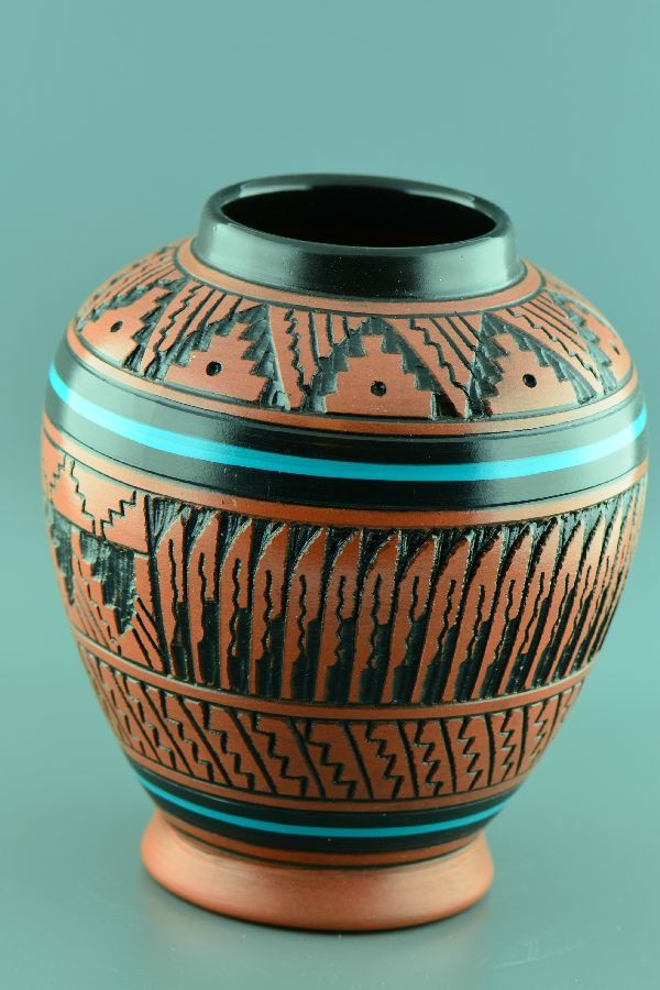 Native American Etched Pottery Vases | Native American Pottery | Navajo Pottery
