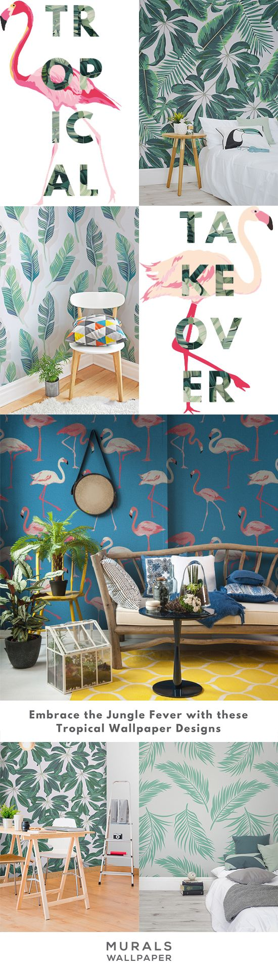 Go bold or go home with these beautiful tropical wallpaper designs. From vibrant leafy prints to exuberant flamingos, our range of tropical wall murals will get your interiors ready for the summer!                                                                                                                                                                                 More