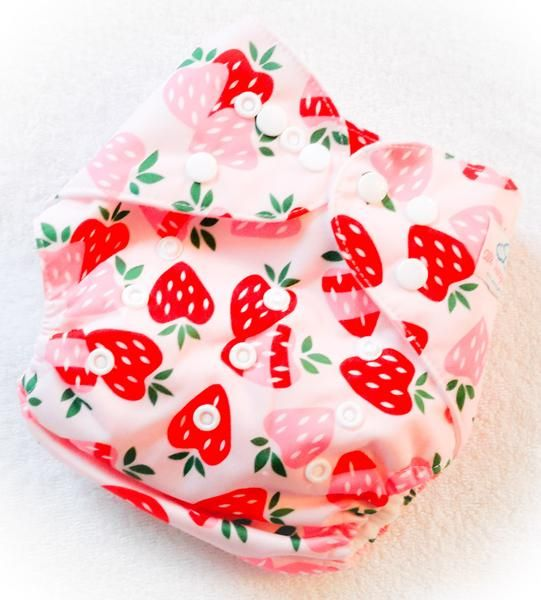 All Things Fluff reusable cloth diapers. Insert included. Cute, affordable diapers! On sale! Free shipping over $199. Strawberry