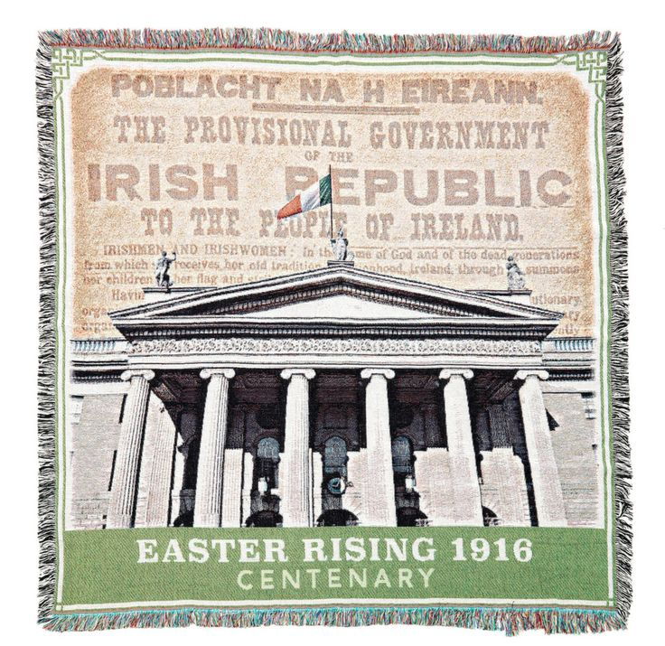 Our Easter Rising 1916 Centenary throw respectfully weaves the Proclamation of Independence and the G.P.O. into a tasteful throw commemorating the 100th anniversary of the founding of the Republic of Ireland.  Made of 100% premium cotton.