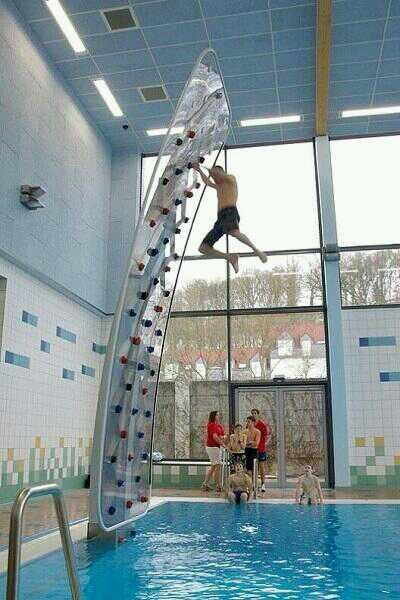 indoor rock climbing wall above pool i want pinterest to be wolves and rock climbing walls