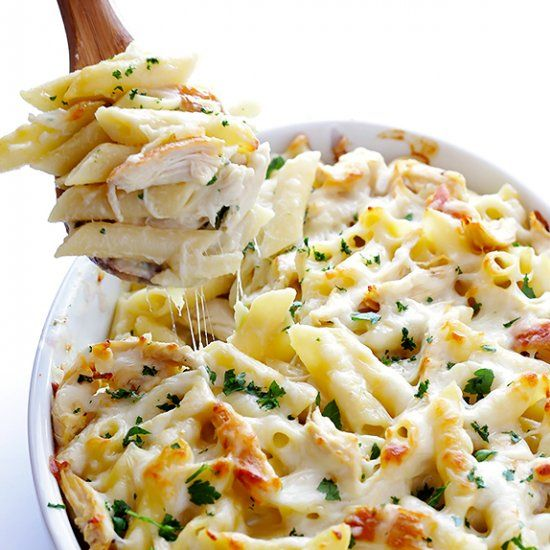 Chicken Alfredo Baked Ziti -- simple to make, affordable, delicious, and picky eater friendly!