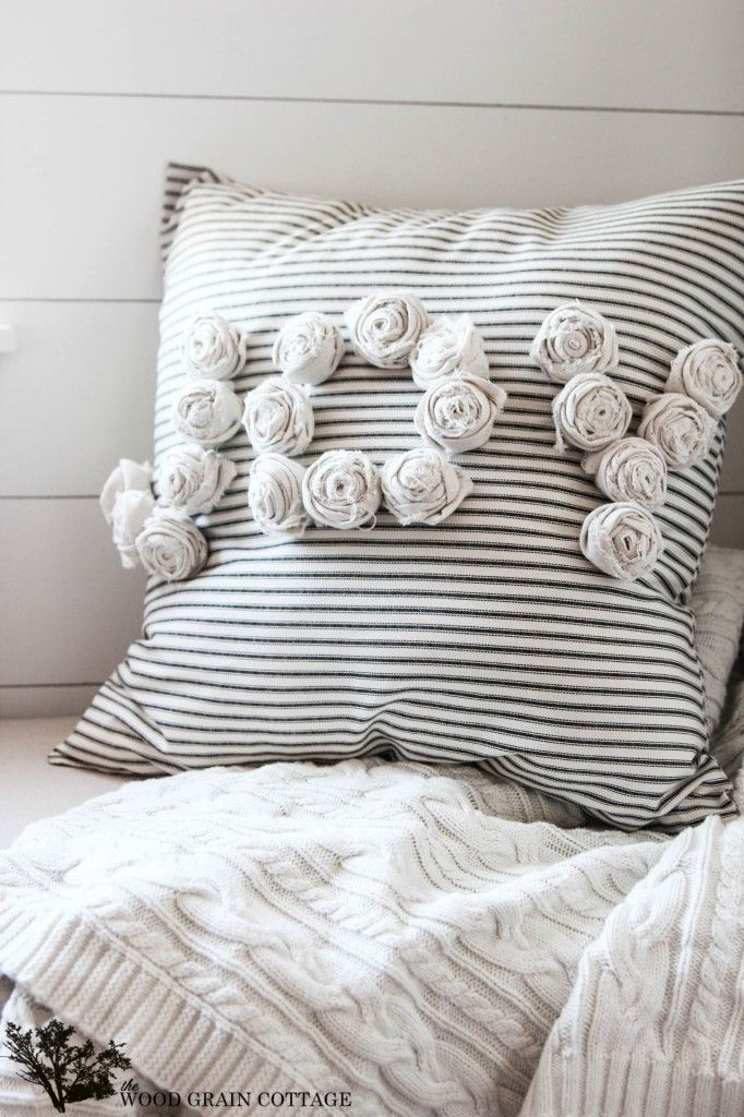DIY Rosette Pillow by The Wood Grain Cottage