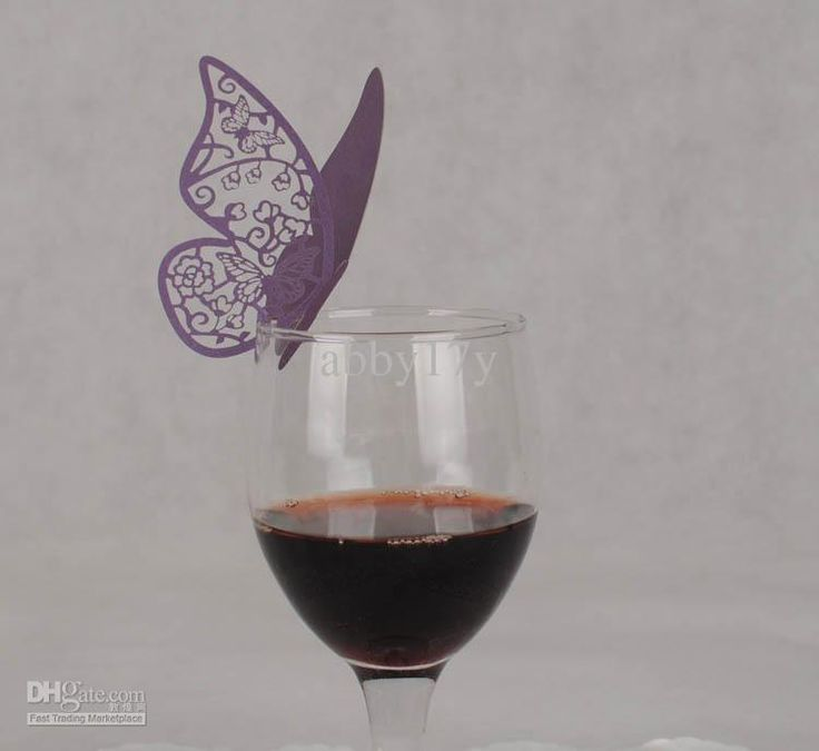 Wholesale Wine Glass - Buy Laser Cutting Butterfly Place Cards,Purple Wine Glass Place Cards 100pcs/lot Free Shipping, $0.23   DHgate