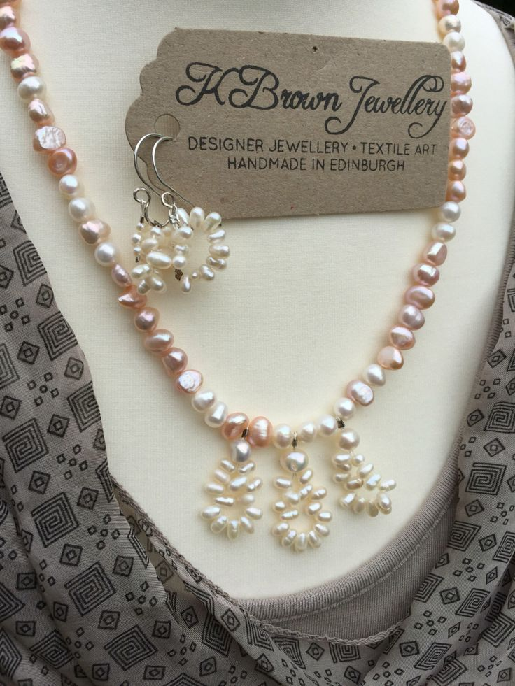 Excited to share the latest addition to my #etsy shop: Freshwater Pearl Jewellery Set, Handmade Pearl Jewellery Set, Designer Pearl Jewellery, Pearl Necklace & Pearl Earrings by K Brown Jewellery