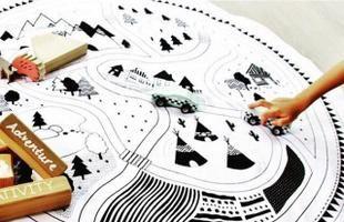 ラウンドタウンマップラグ○型丸型街ラグtownmap地図マットプレイマット掛け布団【artofblack】おくるみオムツ替えマットコットンインテリア北欧ベビーキッズ