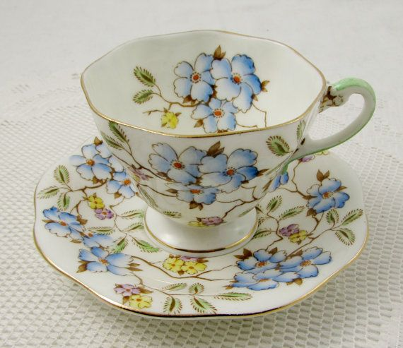 Foley Tea Cup and Saucer in Springdale Pattern, Bone China Floral Chintz Blue…