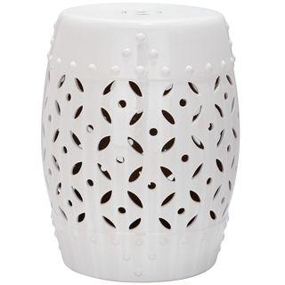 Safavieh Paradise Harmony White Ceramic Garden Stool   Overstock.com Shopping - The Best Deals on Garden Accents