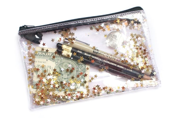 Golden Star, Pencil case, Transparent wallet, Clear bag, Purse organizer, glitter bag by RossMiu on Etsy