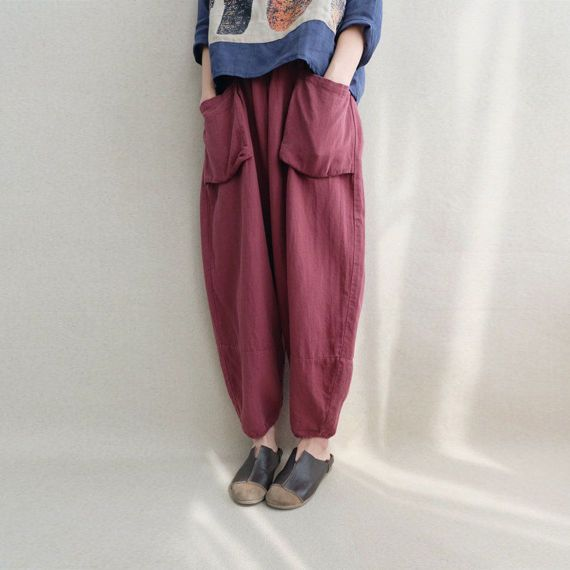 Women Loose Trousers Large Pocket Wide Leg Pants Linen Harem