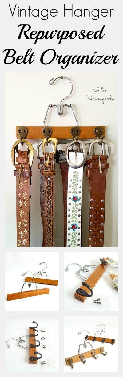 DIY belt organizer using an upcycled vintage pants or trouser hanger and robe hooks by Sadie Seasongoods / www.sadieseasongoods.com
