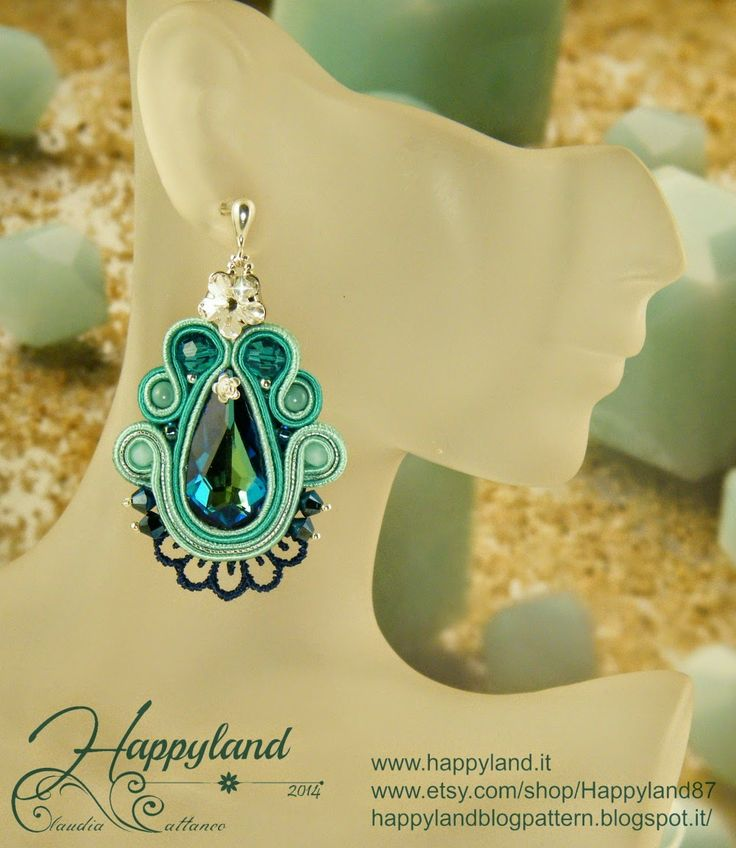 Soutache earrings in Bermuda Blue Pattern and kit available