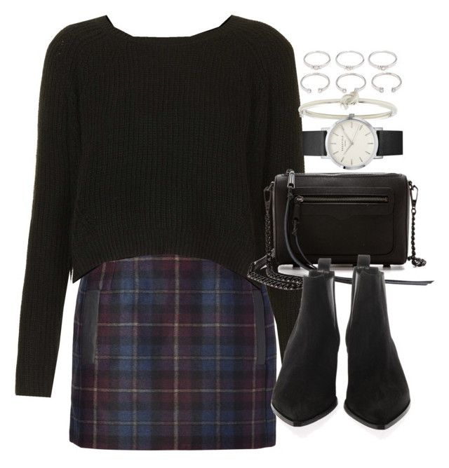"""""""Outfit with a tartan skirt and boots"""" by ferned on Polyvore featuring Forever 21, Maje, Topshop, Rebecca Minkoff, Acne Studios and Kate Spade"""