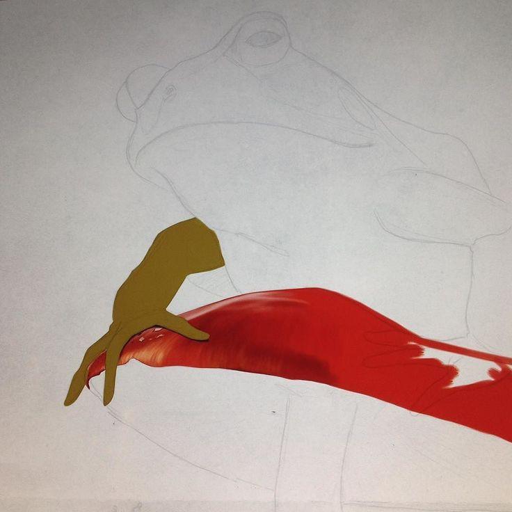 "Working up my new animal print; ""Kiss"" #animal #frog #prince #toadstool #instaart #instaartist #wip #robart #kiss instagram | art | ideas | follow"