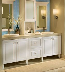 Photographic Gallery Don ut limit yourself to in stock vanities Ask the kitchen designer to plan your bathroom cabinets too