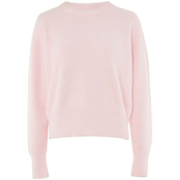 Feather Knitted Jumper by Boutique ($77) ❤ liked on Polyvore featuring tops, sweaters, feather sweater, jumper tops, pink jumper, topshop jumpers and pink top