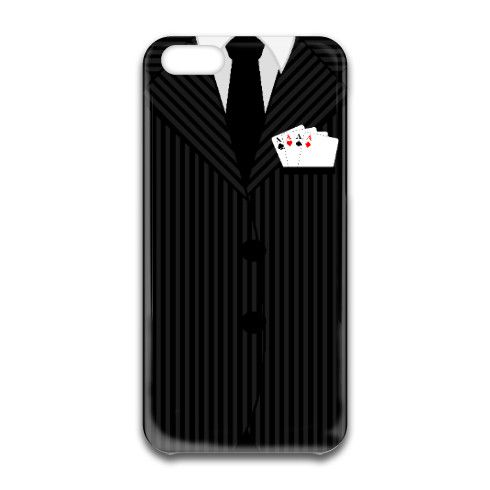 © Sunny Mars Designs. Cool casino poker champ design iphone 6 case featuring a man's business black and grey pin stripe suit, a black tie and buttons with four aces in the jacket pocket.