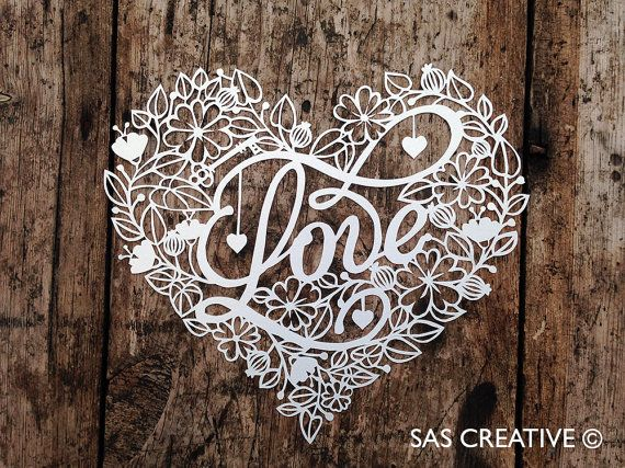 50% Off SALE Papercut Template 'LOVE' Valentine's Heart Printable PDF Template Cut Your Own Papercut by Samantha's Papercuts