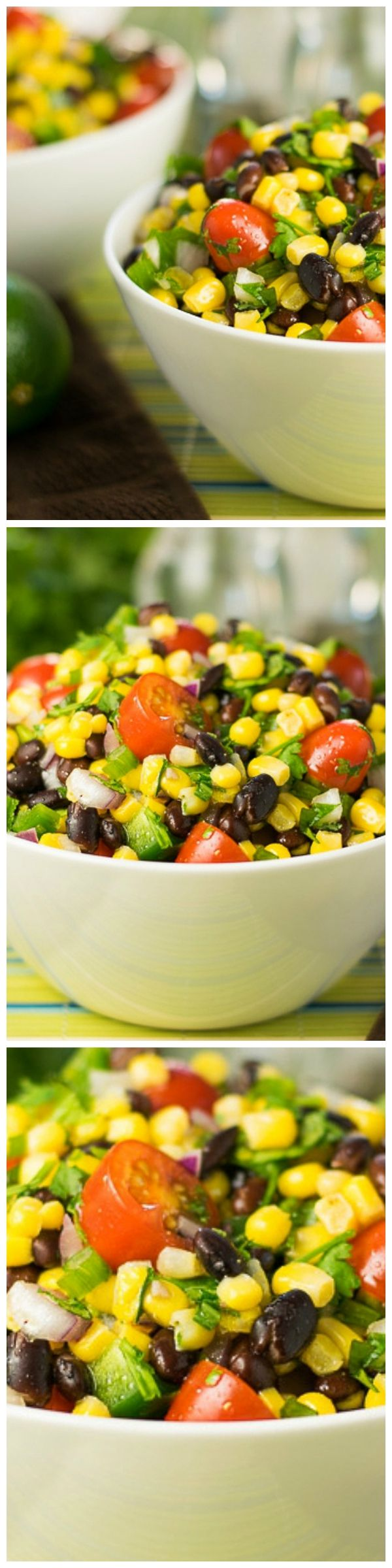 This black bean and corn salad recipe with lime juice is the perfect penance for all those hotdogs and burgers we tend to indulge in all summer long!