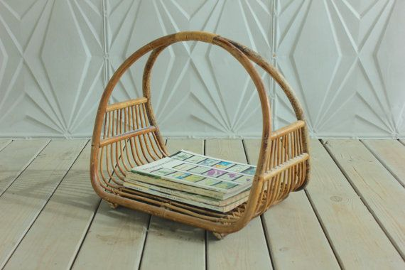 Rattan Curved Bamboo Magazine Rack Holder Mid Century 60's 50's  Retro Boho Modern Basket Woven Cane