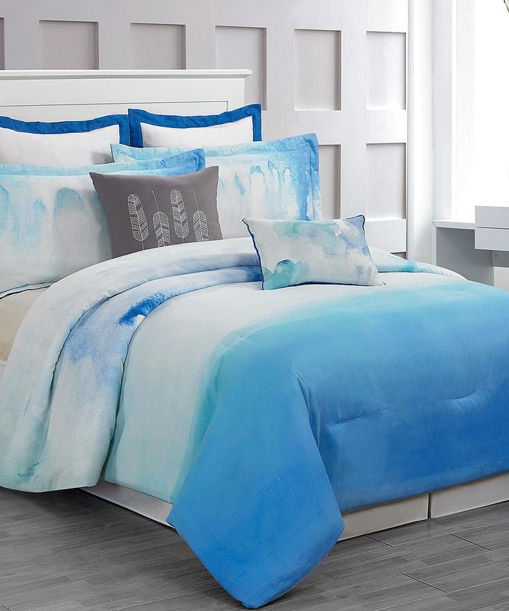 Cloudy Teal Skye Hotel Eight-Piece Comforter Set | zulily