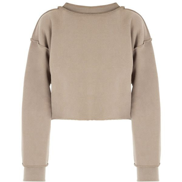 DASH My Mum Made It Raw Detail Crop Sweater (£34) ❤ liked on Polyvore featuring tops, sweaters, crop top, cut-out crop tops, brown tops, mock neck crop top and mock neck sweater