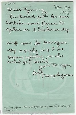 TOMMY LYMAN TORCH SONG SINGER & STAGE ACTOR AUTOGRAPH SIGNED CHRISTMAS LETTER