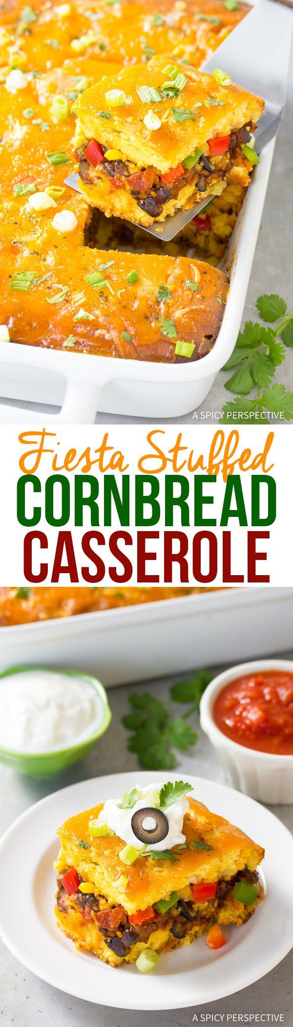Stuffed Fiesta Cornbread Casserole Recipe - A loaded mexican cornbread with colorful layers and tons of flavor! It's a side dish and a meal, all in one. via @spicyperspectiv