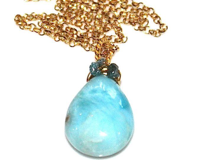 Larimar Necklace Beach Necklace Blue Diamond Necklace Caribbean Larimar Jewelry Ocean Necklace Beach Jewelry Pear Necklace Volcano Gemstone #Gemstone #Jewelry