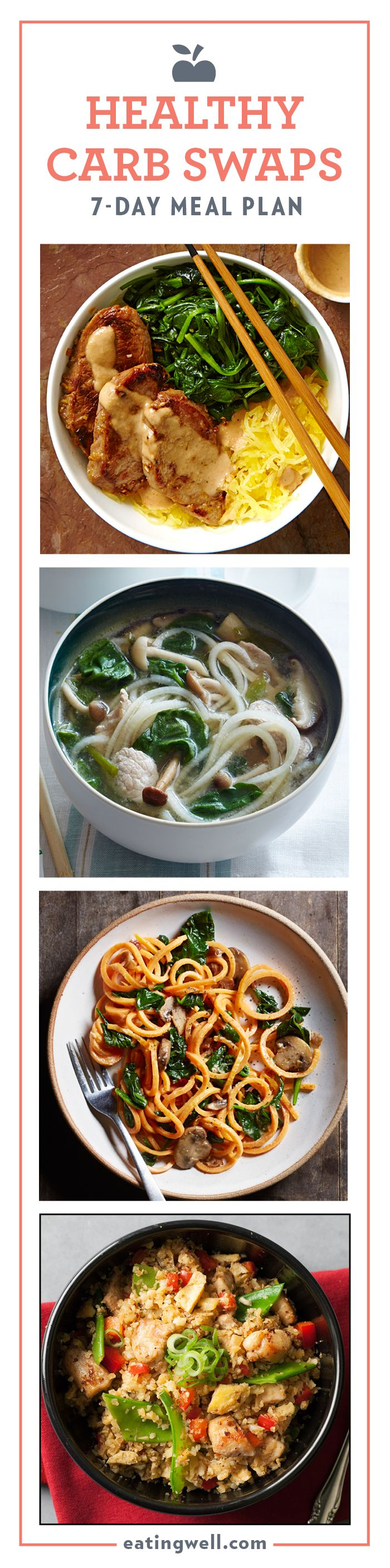 "7-Day Meal Plan: Healthy Carb Swaps | The recipes in this plan feature healthy carb swaps, like spaghetti squash as a stand in for rice noodles, ""spiralized"" sweet potato in place of pasta, and cauliflower as an alternative to fried rice."