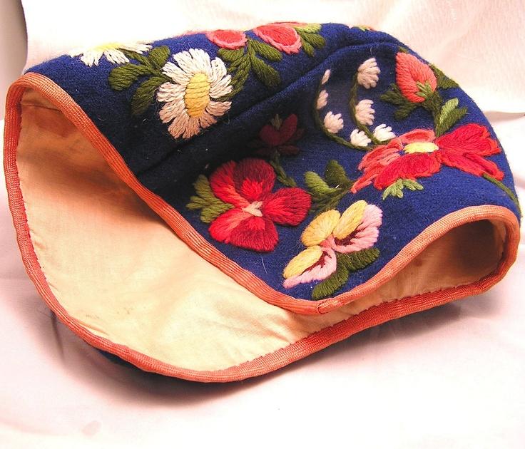 Antique Handmade Scandinavian Child's Embroidered Wool Cap.